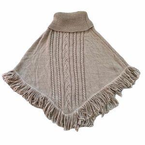 Torrid Plus Size Tan Cable Knit Fringe Poncho
